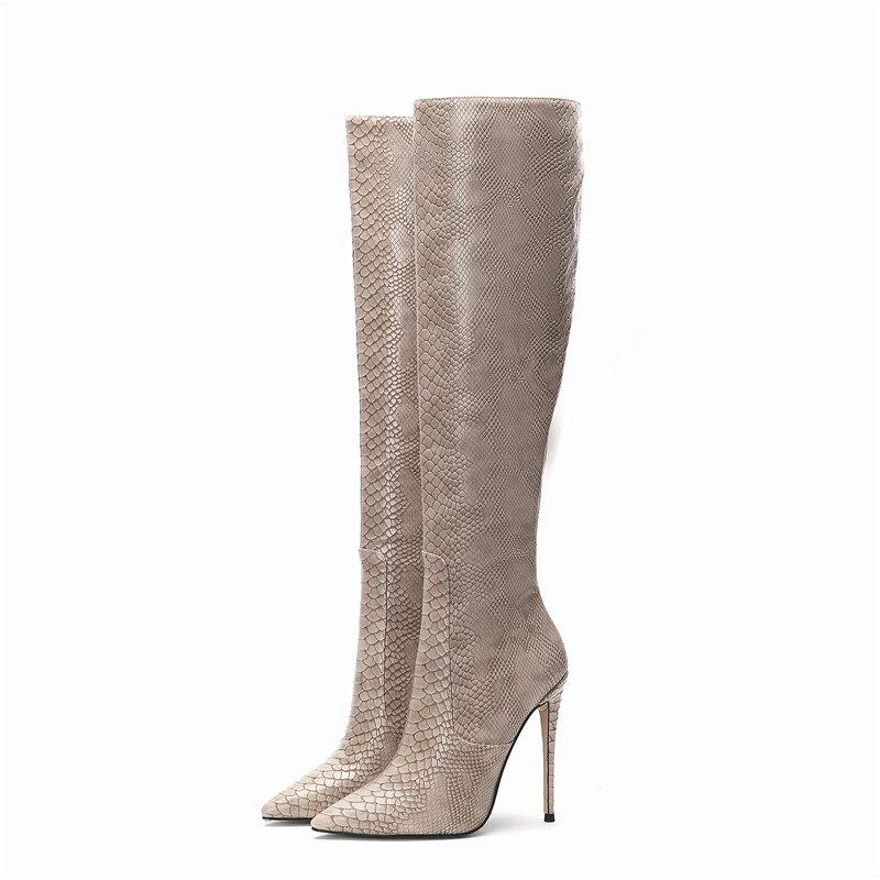 جلد الثعبان حذاء برقبة للركبة النساء النقش رقيقة كعب الشتاء أحذية للنساء فراء الأحذية حجم كبير 45 مثير الربيع الخريف أحذية ركوب الخيل