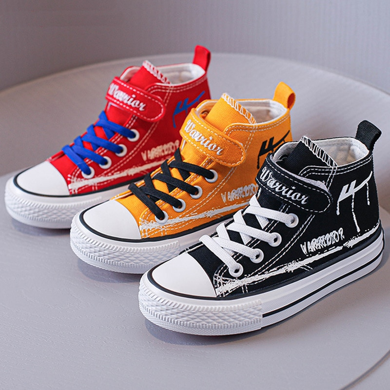 Brand Kids Shoes Boys Canvas High Top Children's Sneakers Girls Casual Shoes Breathable Student Spor