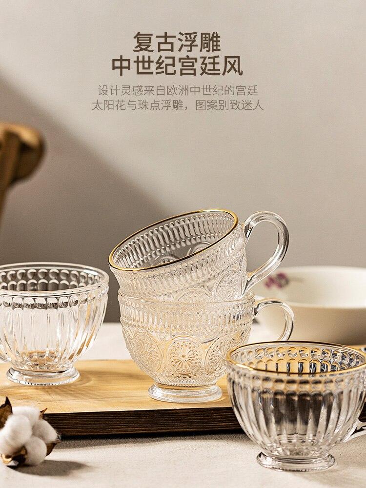 Copa de Cristal redonda Retro creativa con mango, vaso de vidrio minimalista...