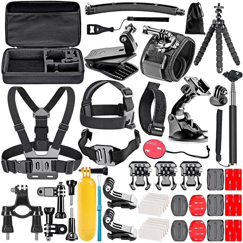 مجموعة ملحقات الكاميرا الرياضية 50 في 1 ، حقيبة تخزين لعصا السيلفي ، حزام الرأس ، مجموعة الصدر لـ Gopro SJCAM Xiaomi Yi Dji Osmo Action