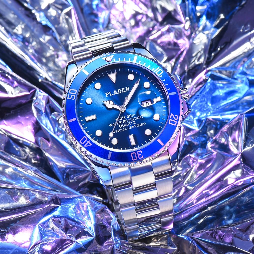 PLADEN Man Watch Waterproof Top Brands Men's Wrist Watch Reloj Hombre Luminous Stainless Steel Luxury Brand Men's Quartz Watch super speed v6 v0180 racer quartz movement wrist watch for man black brown white