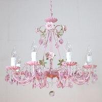 Free Shipping Floral Chandelier Lustre Light 8arms Pink Rose Flower Chandelier Light Fixture E14 D66cm LED Decoration Chandelier
