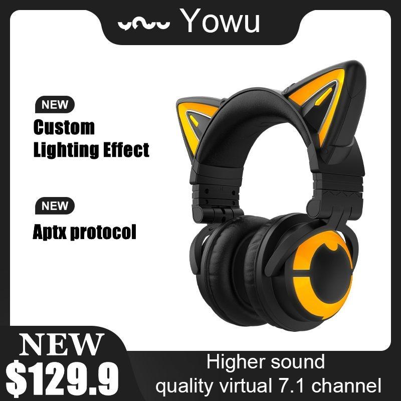 YOWU-سماعة رأس لاسلكية 3S مع تحكم في التطبيق ، وأضواء RGB ، وسماعة رأس قطة لطيفة للفتيات ، وألعاب الكمبيوتر