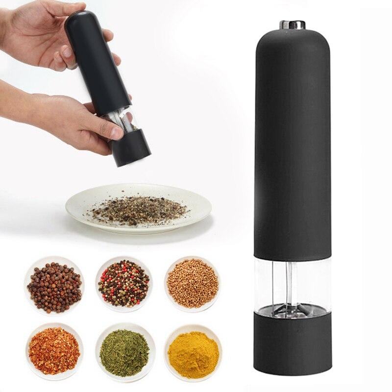 Автоматическая электрическая мельница для перца и соли, мельница со светодиодной подсветкой, зернистая мельница для специй, фарфоровая мел...