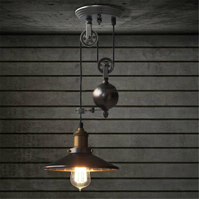 أسود ريفي مصباح بكرة قلادة أضواء غرفة الطعام غرفة نوم المطبخ جزيرة قلادة مصباح E27 اديسون لمبة السقف مصباح معلق
