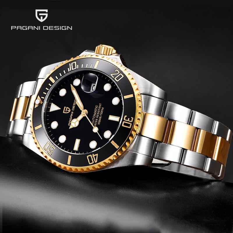 Nuevos relojes PAGANI de marca de diseño de lujo para hombre, relojes automáticos de oro, reloj de pulsera mecánico deportivo de negocios resistente al agua para hombre