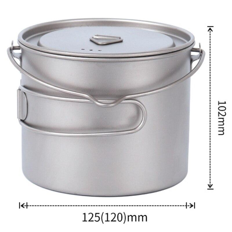 Купить с кэшбэком 1100Ml Pure Titanium Pot Titanium Water Mug Cup With Lid And Foldable Handle Outdoor Camping Pot Cooking Pots Picnic Hang Pot