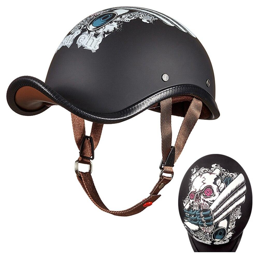Casco de motocicleta negro blanco Retro Scooter Half Helmats Vintage casco de Moto motero montar Cafe Racer Moto Crash Helmet