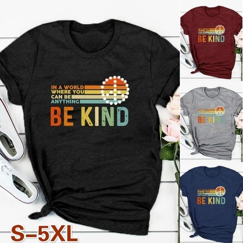 Be Kind Letter Striped Print T Shirt Women Short Sleeve O Neck Loose Tshirt Summer Women Tee Shirt Tops Camisetas Mujer