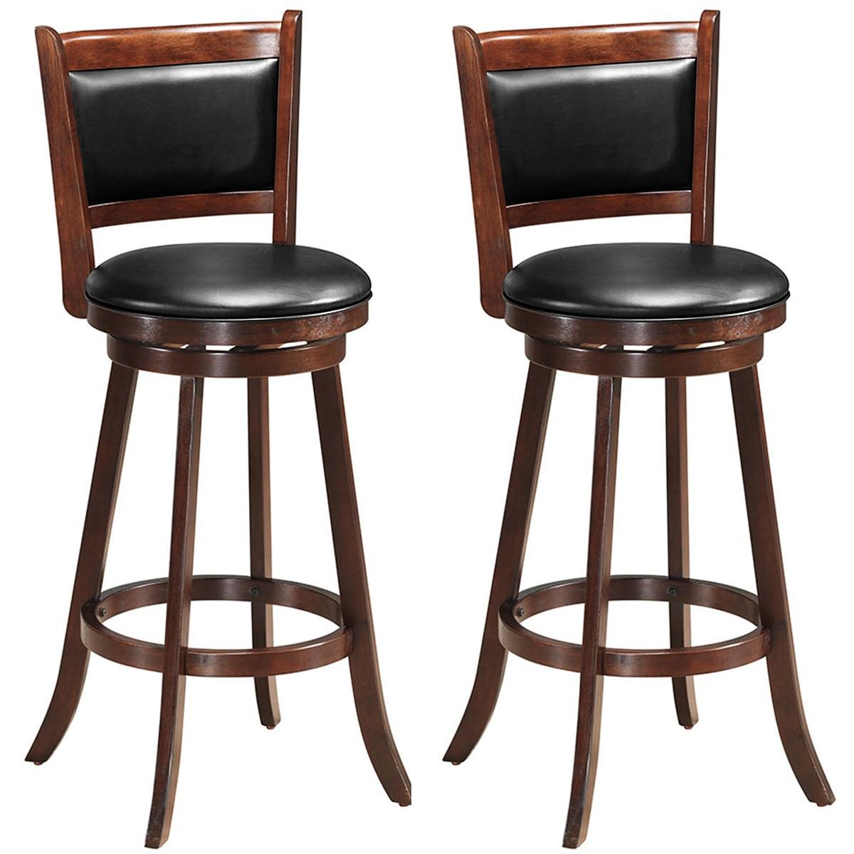 Costway-كرسي طعام خشبي منجد مع مقعد إسبرسو ، مجموعة من 2 ، 29 بوصة ، شريط دوار ، ارتفاع
