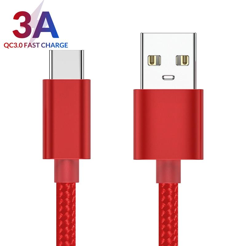 3A(Max) USB tipo C para Samsung S8 Xiaomi Huawei carga rápida USB C con transferencia de datos Cable DE TELÉFONO MÓVIL Usb C