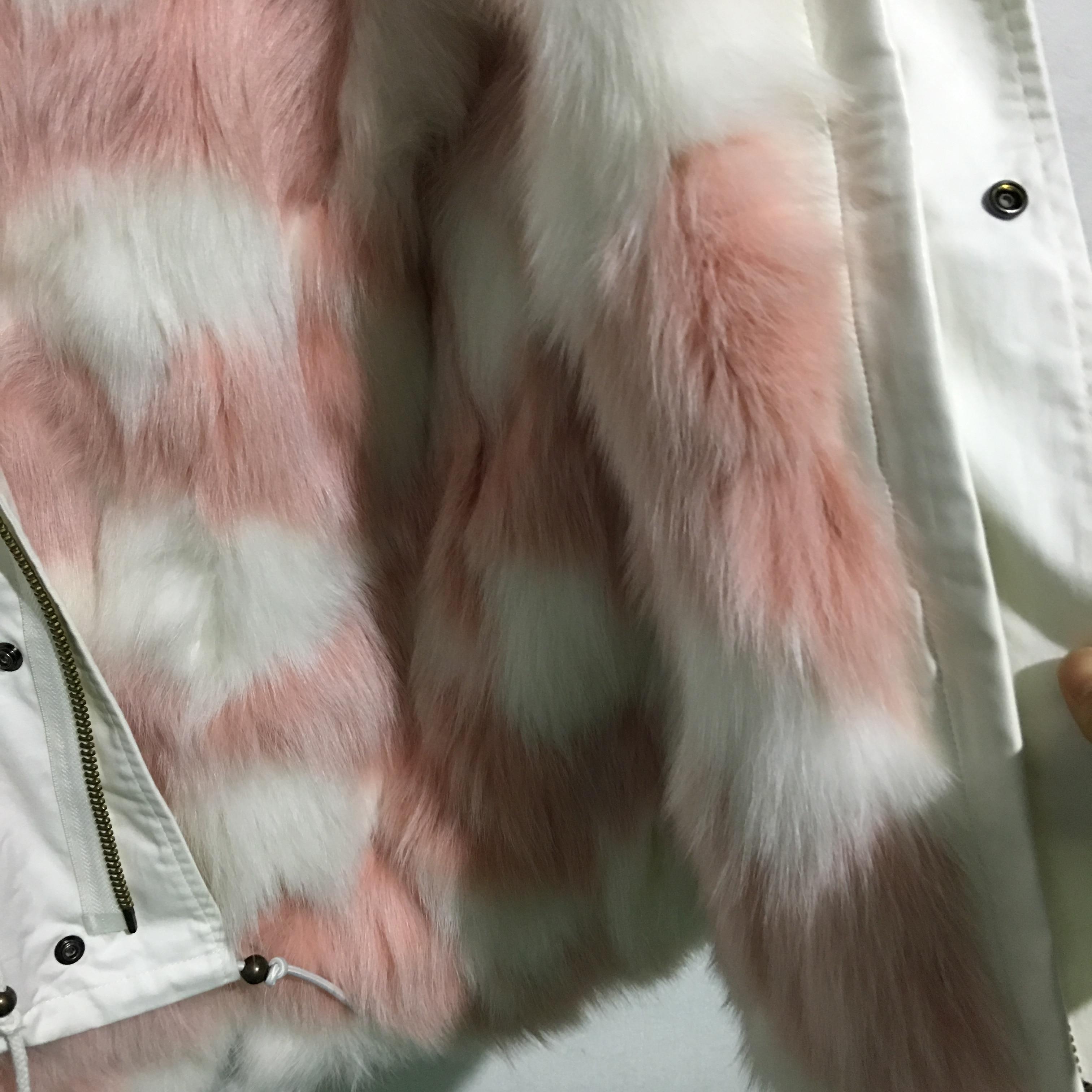 Women's White Mini Cotton Canvas Parka W Fur Trim Babypink in White Color enlarge