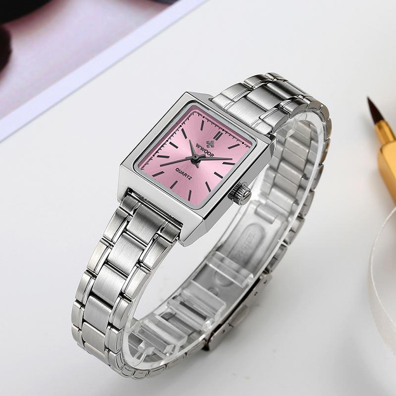 Reloj Mujer WWOOR Watch For Women Fashion Pink Bracelet Watches Ladies Luxury Small Wrist Watch Waterproof Clock Gifts For Women enlarge