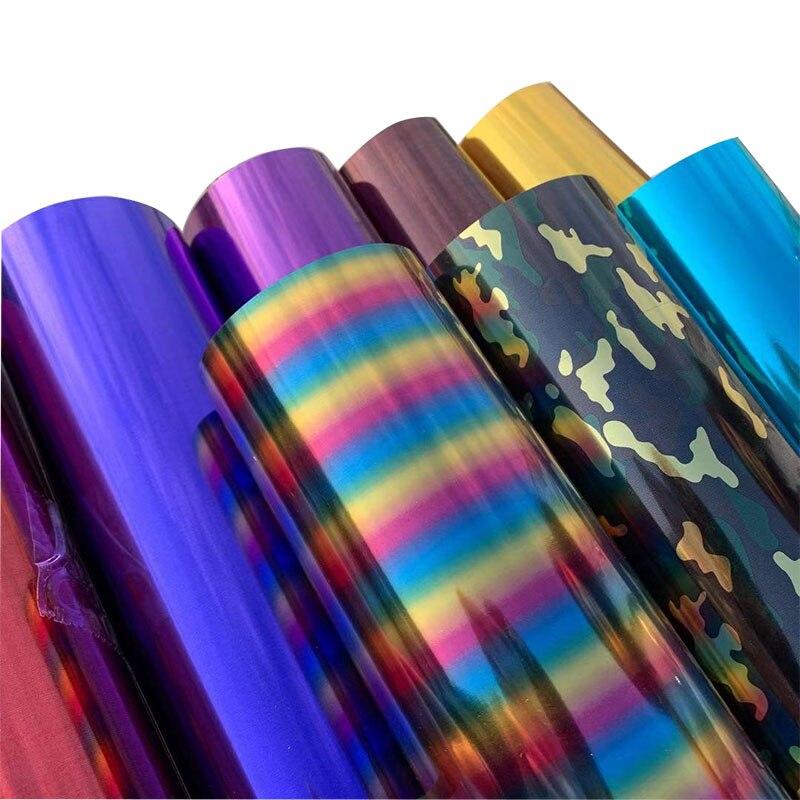 Frete grátis 1 folha 25cm x 50cm metálico transferência de calor vinil prata arco-íris camuflagem holograma ferro no filme htv camiseta