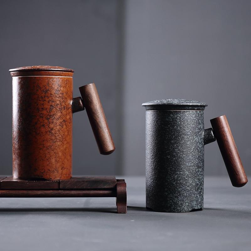 300ml Vintage Crude Ceramic Coffee Mug Tumbler Rust Glaze With Wooden Handgrip Tea Milk Beer Water Cup Home Office Drinkware