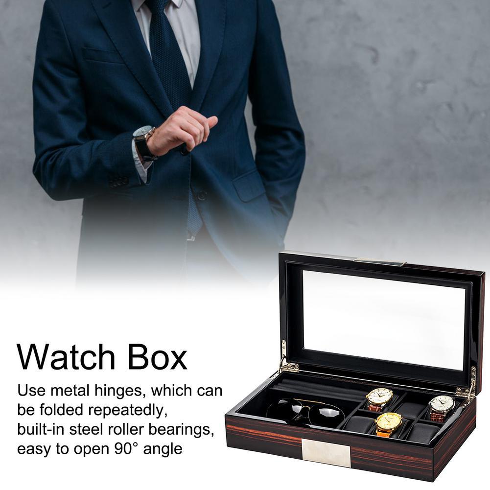 علبة ساعة خشبية 6 شبكات أسود فاخر صندوق لتخزين ساعات اليد مجوهرات صندوق عرض علبة هدية للرجال