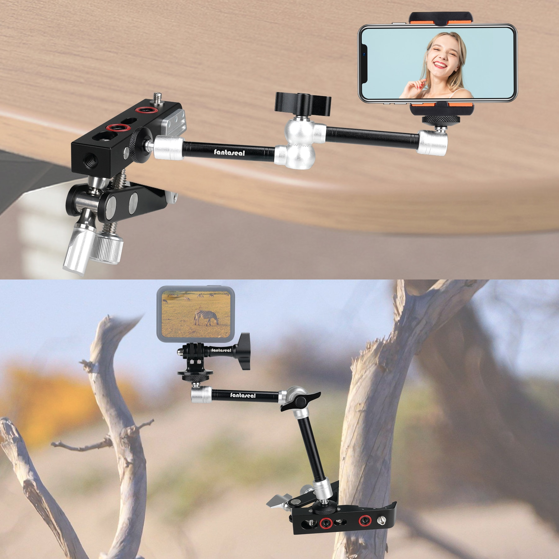 Heavy Duty DSLR Camera Camcorder Super Clamp Mount Irregular-Object Fix Holder Mounts Kit w/Magic Arm +Quick Release Plate enlarge