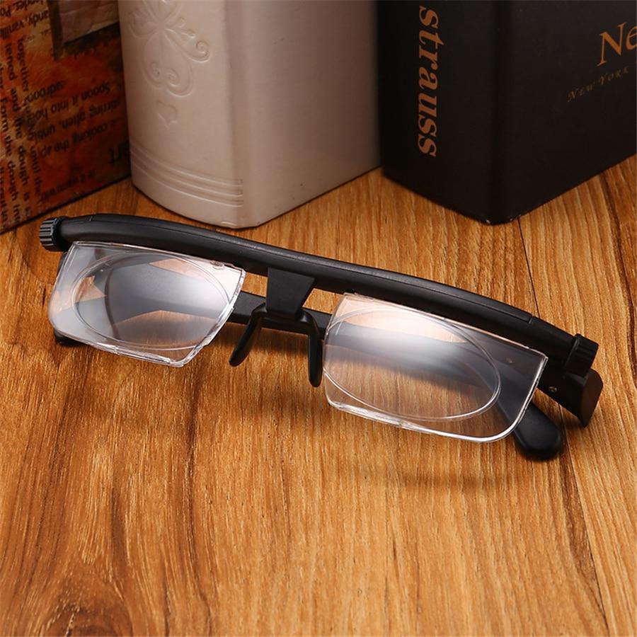 Gafas de lectura ajustables-600 miopía a + 300 hiperopía TR90 marco doble uso Ajuste de longitud focal flexible-6d A + 3D