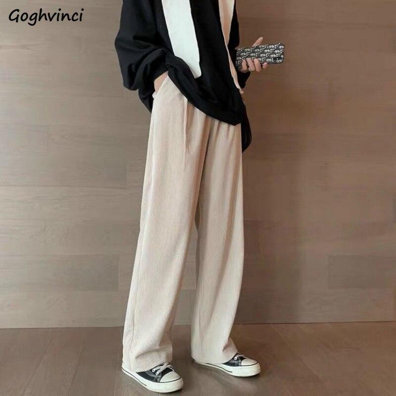 Calças femininas casual comprimento total veludo sólido solto elástico de cintura alta perna larga calças faculdade vintage simples fino streetwear