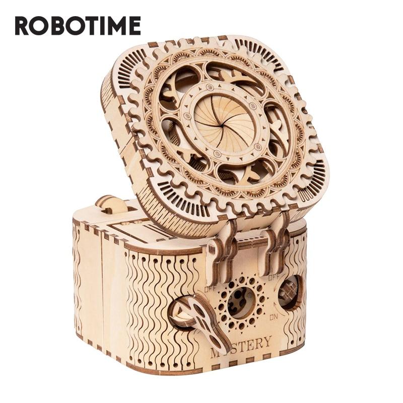 Robotime ROKR ثلاثية الأبعاد خشبية لغز صندوق تخزين كلمة السر صندوق خزانة المجوهرات نموذج بناء عدة لعب للأطفال LK502 انخفاض الشحن