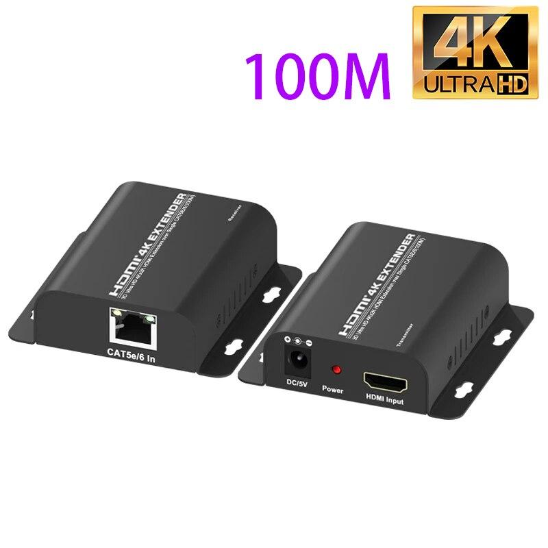 4K 100M HDMI موسع RJ45 منفذ إيثرنت إلى HDMI موسع HDMI الحبل تمديد أكثر من القط 5e 6 Cat6 كابل صافي كابل محول الفيديو