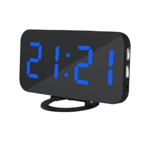 Digital LED Display Alarm Clock with USB Port Mirrored Electronic Snooze Alarm Clock, Black and Green Letters