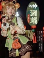 anime game genshin impact yaoyao skin lolita dress cute uniform loli outfit cosplay costume women halloween freeshipping 2021new