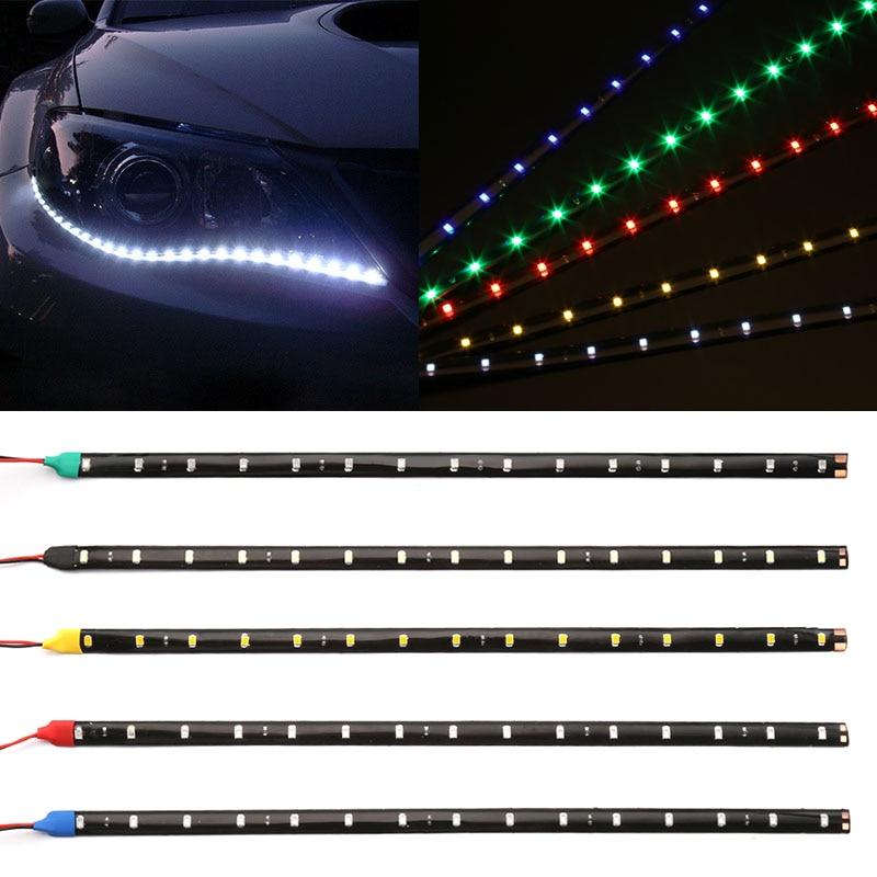 "Car-styling 30cm coche Flexible tira de luz LED de alta potencia 12V 11,8 ""15SMD impermeable luz LED de conducción diurna decorativo coche DRL"