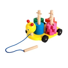 New early education wooden color drag push cart cute caterpillar toys children's interest educationa