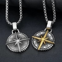 retro viking compass pattern round pendant necklace mens necklace fashion necklace nautical compass pendant accessories jewelry