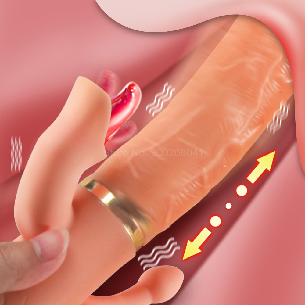 Handheld Heating Dildo Vibrator Licking Clitoris Stimulate Female Orgasm Telescopic Swing G Spot Vibrator Masturbator Sex Toys