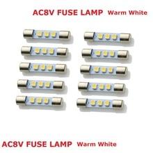 50xWarm белый AC8V автомобиль гирлянда Стиль светодиодный светильник заменить лампы накаливания предохранитель лампы 8V 250mA подходит Винтаж стерео аудио приемники