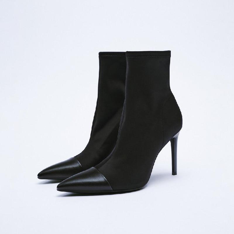 النساء أحذية عالية الكعب الأحذية-النساء أحذية نسائية خنجر 2021 السيدات مدبب منتصف العجل المطاط منتصف العجل ستوكات بولي Flock قطيع الصلبة