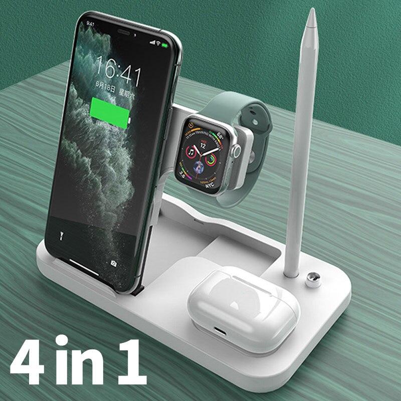 Беспроводное зарядное устройство Qi, 15 Вт, для iPhone 12, 11 Pro, XR, X, 8, 4 в 1, складная зарядная док-станция для Apple Watch, Airpods Pro