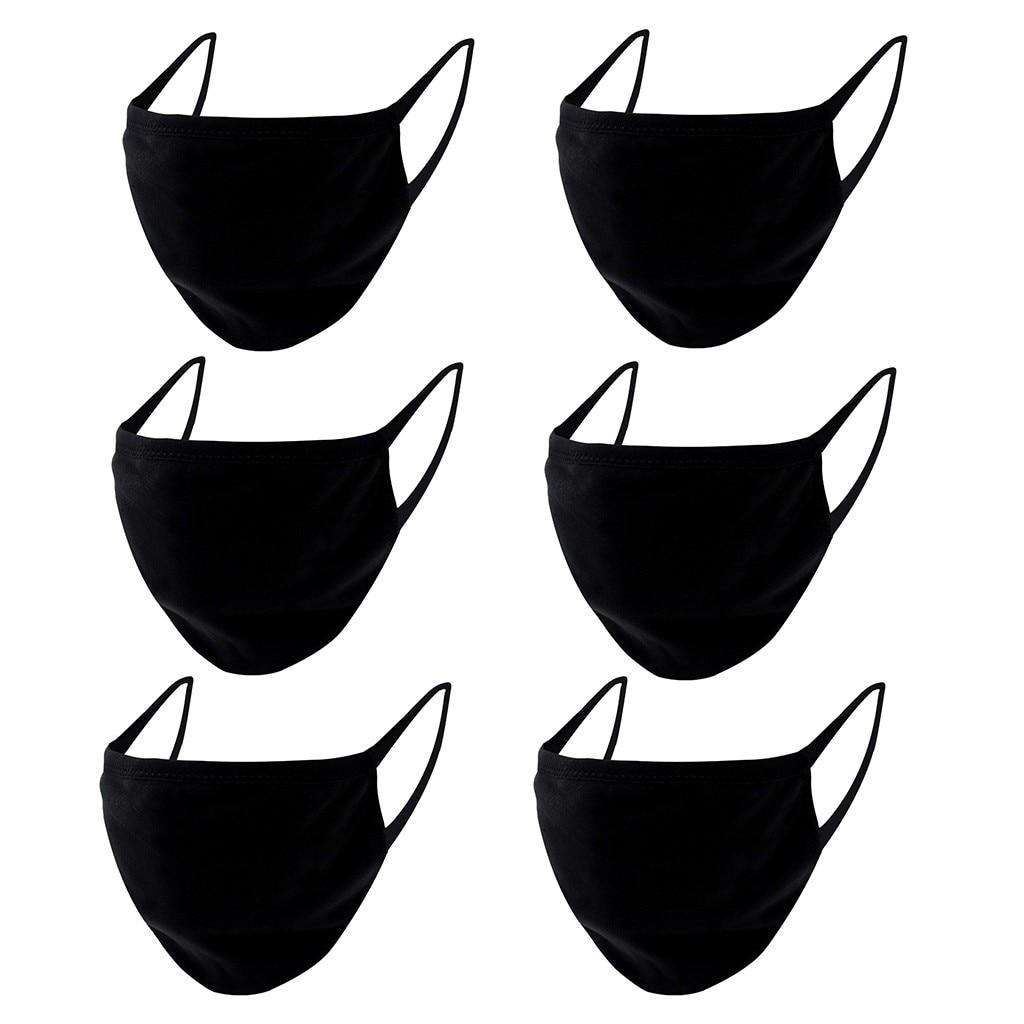 6 шт рот дети 2020 хлопок дышащее лицо Maskswashable и многоразовые дети Pm2.5 пыльная черная ткань рот Maske