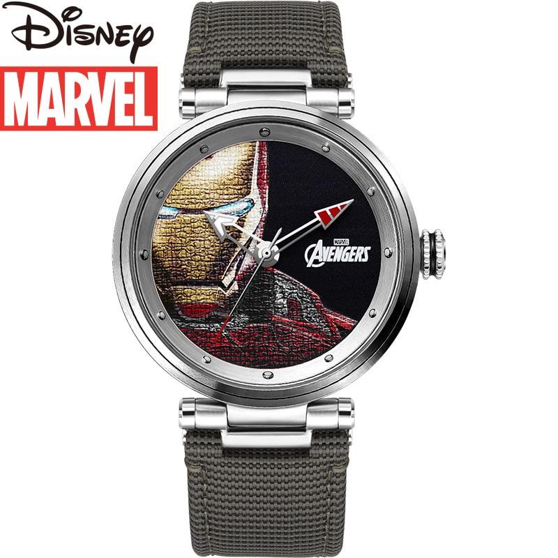 Disney Men's Nylon Strap Waterproof Quartz Watch Marvel Watch Fashion Unique Luminous Iron Man Watch Men's Watch
