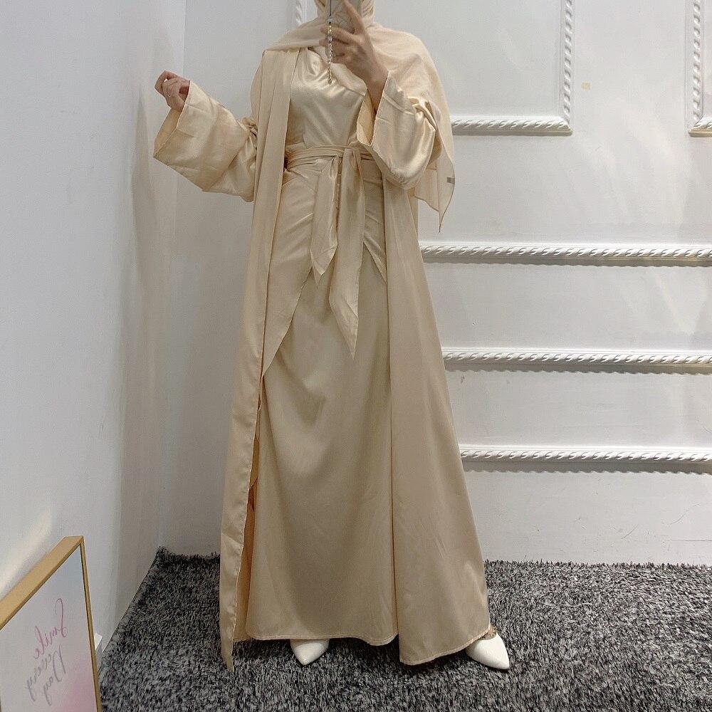 طقم إسلامي 4 قطع ملابس متناسقة رقيق ساتان مفتوح عباية كيمونو أكمام طويلة فستان طويل تنّورة ملفوفة إسلامي دبي نساء موضة