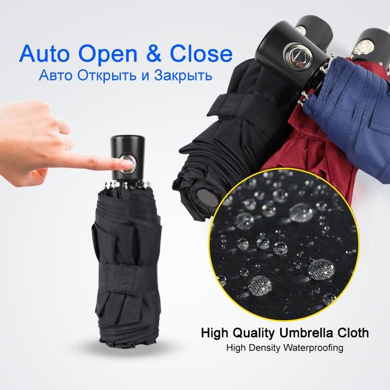 Mini Pocket Automatic Umbrella Rain Women 5Folding Ultra Light Travel Men Umbrella Black Coating Por