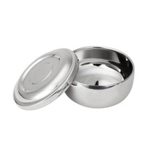 Professional Tool Mug With Lid Brush Soap Stainless Steel Home Salon Container Gift Barber For Men Non Slip Shaving Bowl