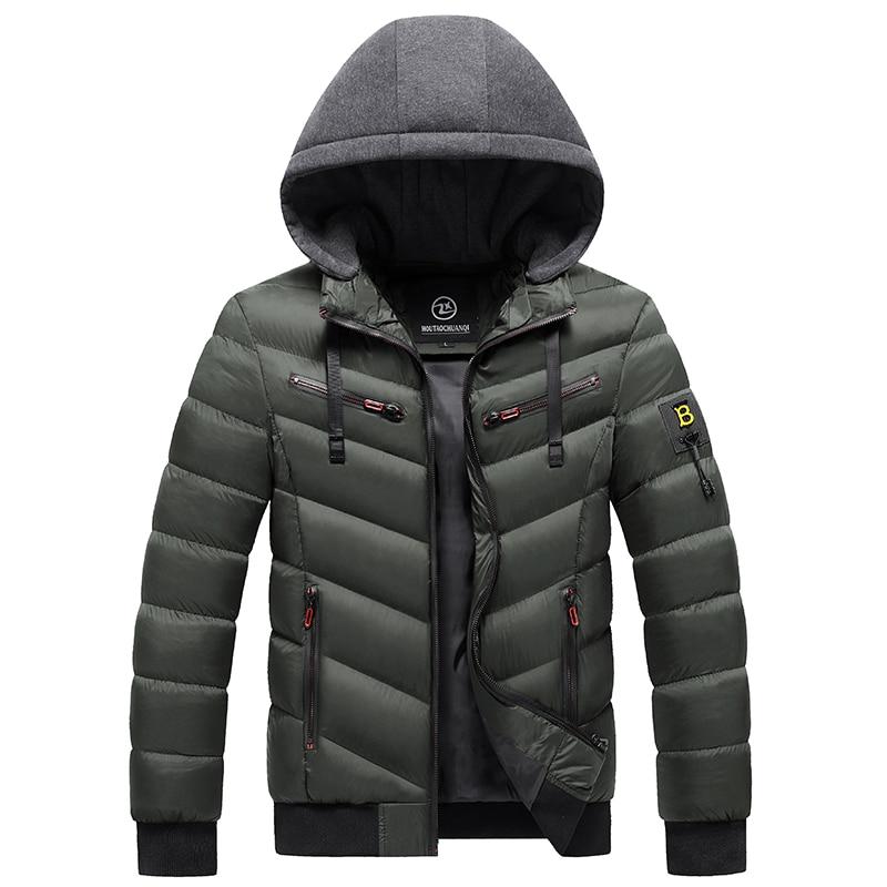 Парка мужская зимняя ветрозащитная, Толстая теплая и ветрозащитная униформа в стиле милитари, с капюшоном, модная куртка, Мужская зимняя ку...