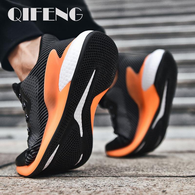 أحذية رياضية غير رسمية للرجال ، أحذية رياضية ناعمة وخفيفة الوزن ، مسطحة ، عصرية ، شبكية ، سوداء ، لفصل الصيف