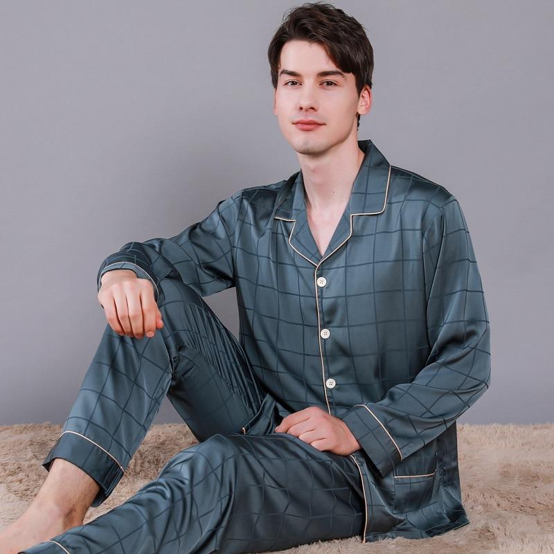 Мужчины% 27 длинный рукав шелк пижама длинный рукав брюки дом костюм большие размеры лед шелк досуг дом костюм пижамы сна топы пижамы