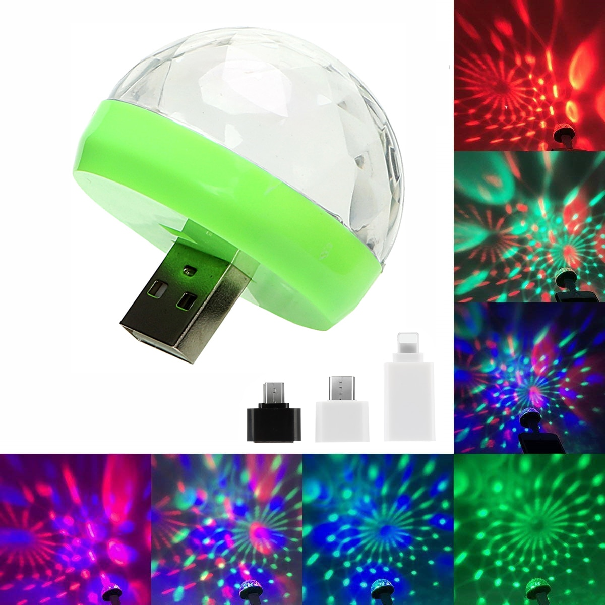 Portable Mini USB LED Atmosphere Light Stage Magic DJ Disco Ball Lamp Indoor Home Party USB To Apple Android Phone Disco Light