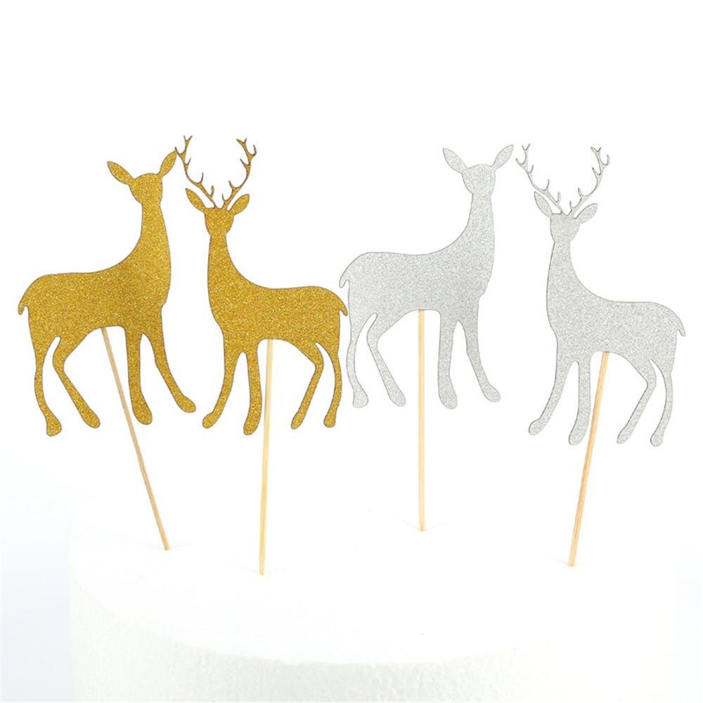 10 Uds hermosa alce lindo ciervo pastel Toppers feliz Festival de Navidad...