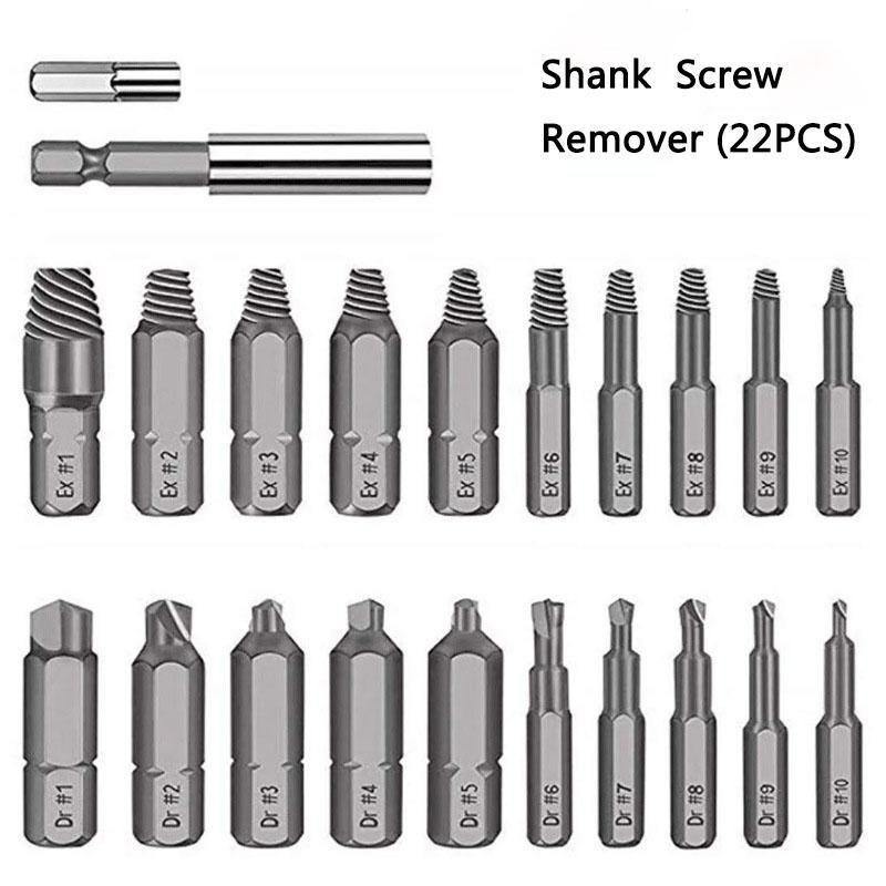Shank chave de fenda broca danificado parafuso extrator guia kit parafuso quebrável descascado chave de fenda ferramenta