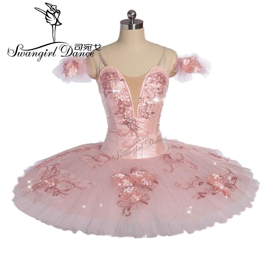 Newest Child Peach YAGP competition professional ballet tutu girls flower fairy pancake doll performance tutu costume BT9172