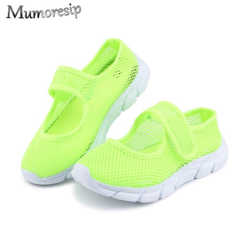 Sandalias para niños y niñas, zapatos de verano transpirables de tela de malla metálica para niños, zapatos de playa informales para niños de Color caramelo 26-36 baratos