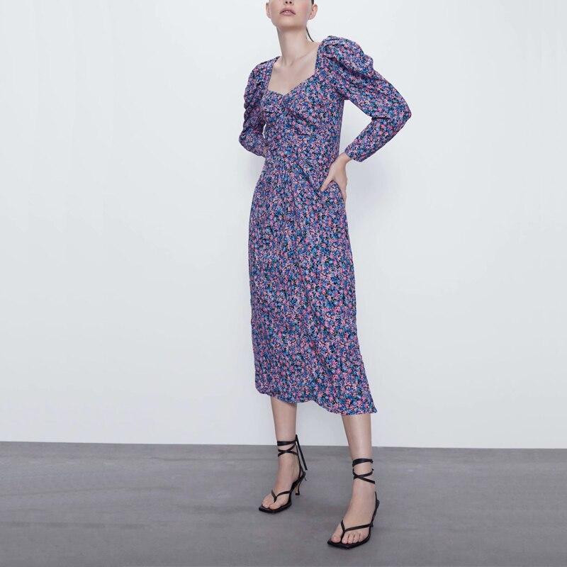 Women dress casual spring flower print halter dress Slim Vestidos