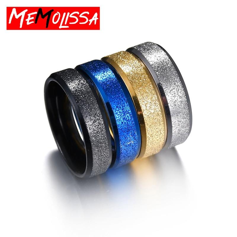 Anillos clásicos de titanio de acero para parejas, anillo de promesa de boda de Color dorado, Azul, Negro, plateado para mujeres y hombres, joyería de compromiso