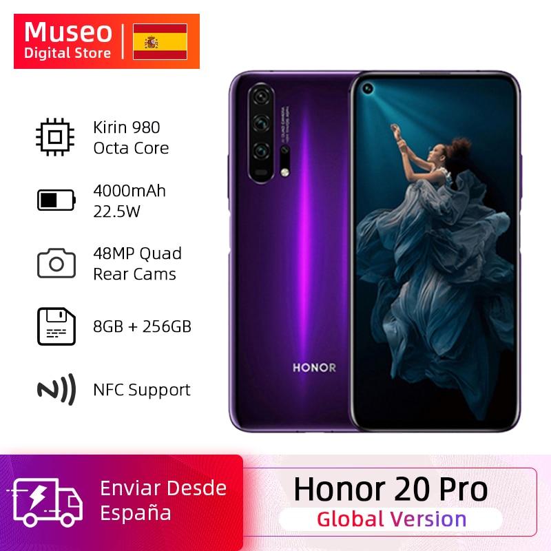 Global Version Honor 20 Pro Smartphone 8GB 256GB Kirin 980 Octa Core 48MP Four Camera 6.26'' Cell Phone 4000mAh Google Play NFC